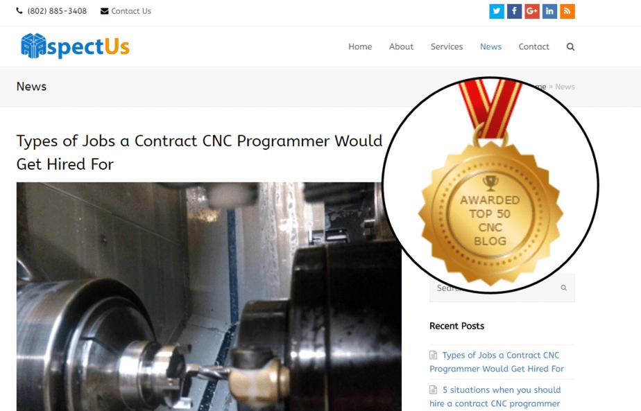 "CNC Programming Blog Named ""Top 50 CNC Blogs To Follow"""